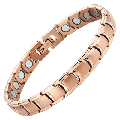 Womens Rose Gold Tone Titanium 3000 Gauss Magnetic Therapy Anklet