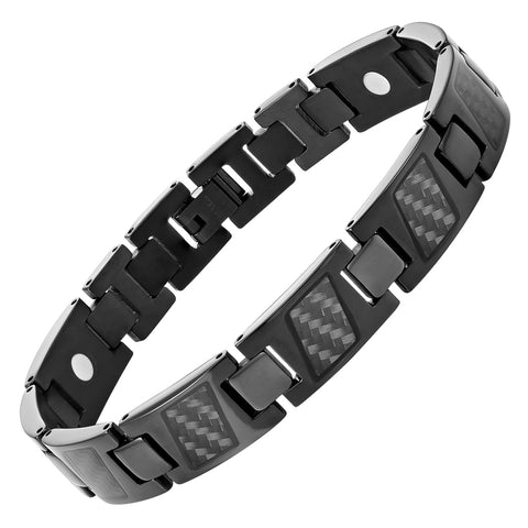 Men's Black and Green Magnetic Leather and Stainless Steel Bracelet with Black Carbon Fiber