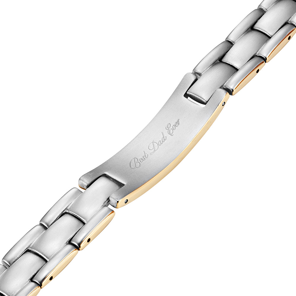 DAD Mens Gold Two Tone Titanium Bracelet Engraved Best Dad Ever