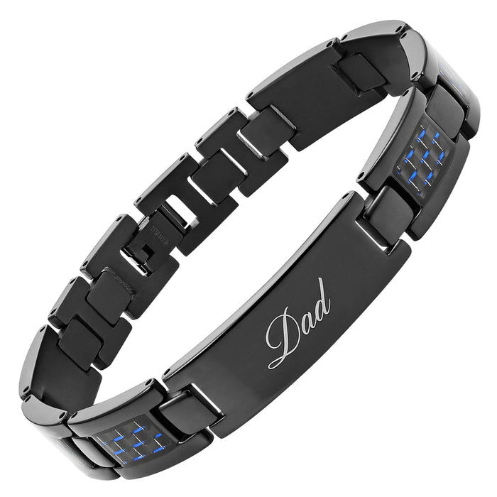 Mens Black Titanium Bracelet Featuring Blue Carbon Fiber Engraved With Dad, Love You Dad