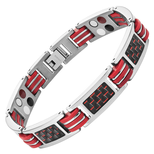 Men's Four Element Magnetic Red Carbon Fiber Titanium Bracelet