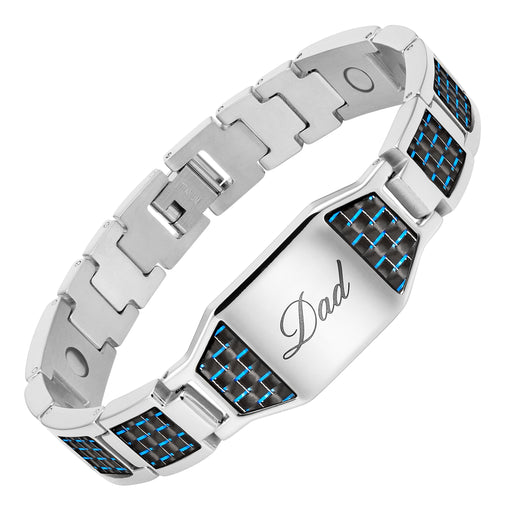 Mens Titanium 3000 Gauss Magnetic Therapy Bracelet Featuring Blue Carbon Fiber Engraved With Dad, Love You Dad