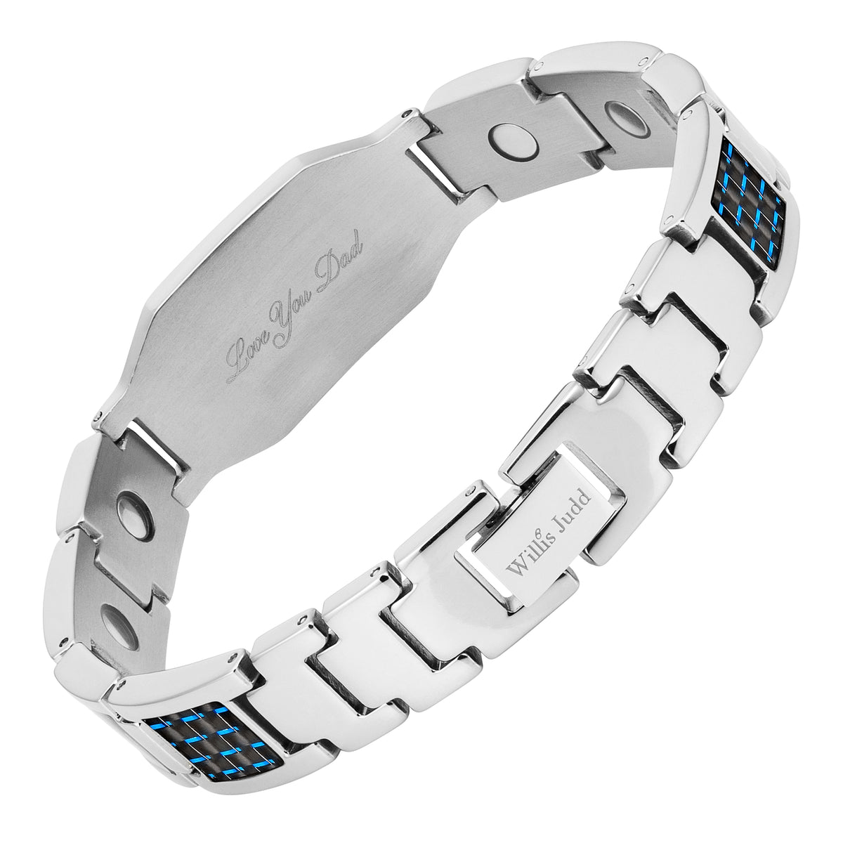 DAD Titanium Magnetic Therapy Bracelet Featuring Blue Carbon Fiber Engraved Love You Dad