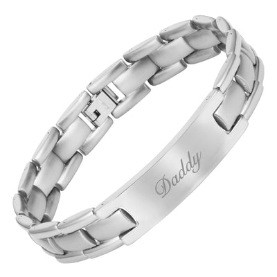 Mens Titanium Bracelet Engraved With Daddy, Love You Daddy
