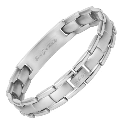 Mens Stainless Steel Bracelet Engraved with Daddy, Love You Daddy