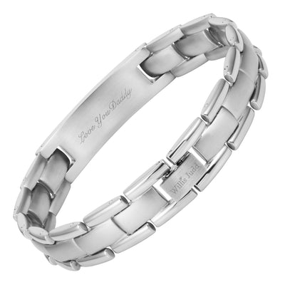 Mens Titanium Bracelet Engraved with Granddad, Love You Granddad