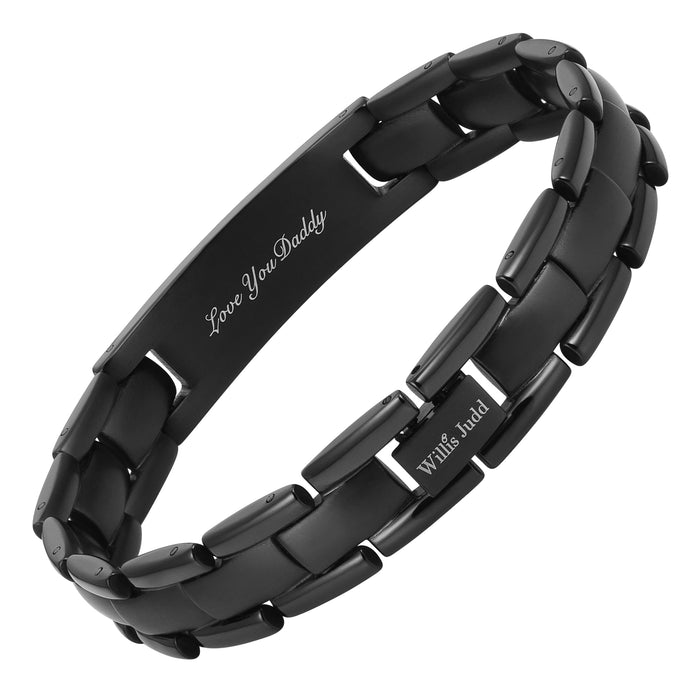 Mens Black Titanium Bracelet Engraved With Daddy, Love You Daddy