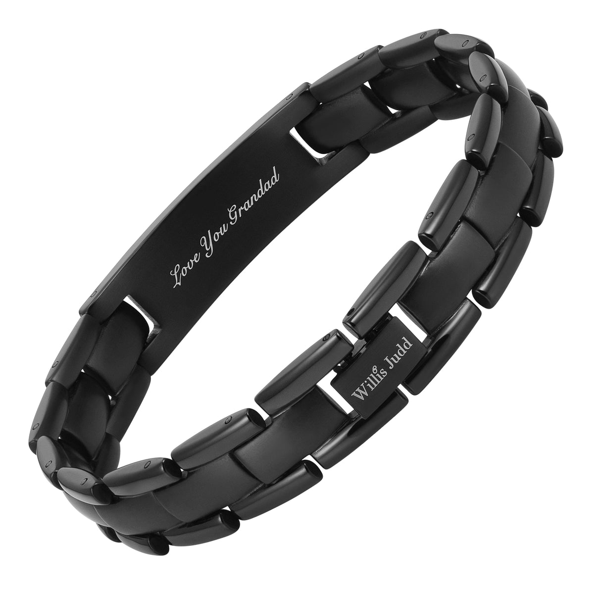 Mens GRANDAD Black Titanium Bracelet Engraved Love You Grandad
