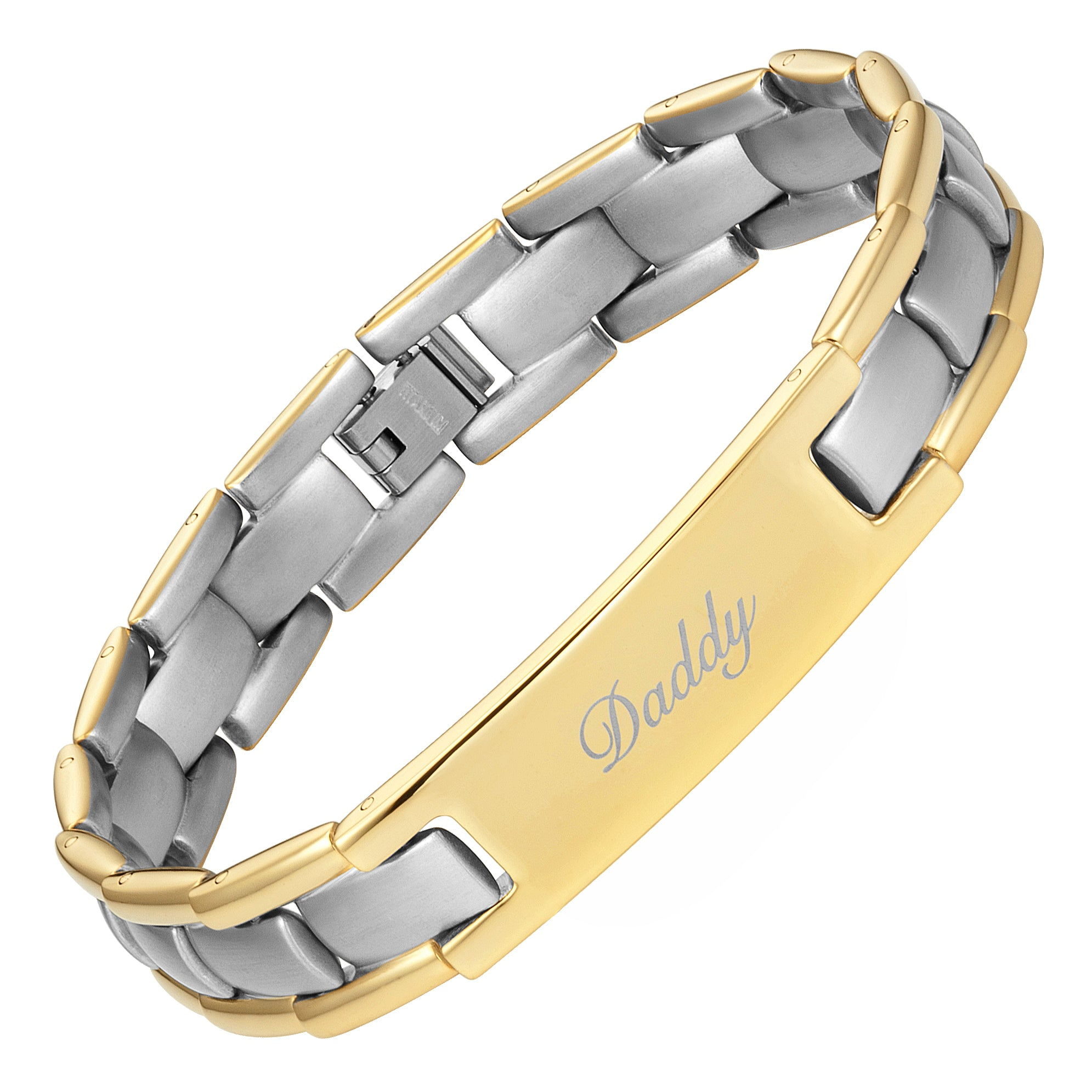Mens Gold Two Tone Titanium Bracelet Engraved With Daddy, Love You Daddy