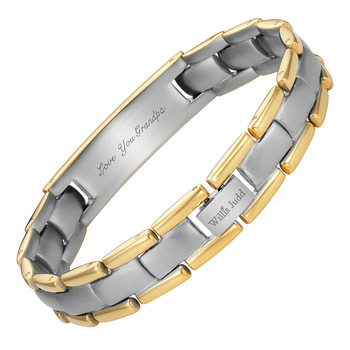Mens Gold Two Tone Titanium Bracelet Engraved with Grandpa, Love You Grandpa