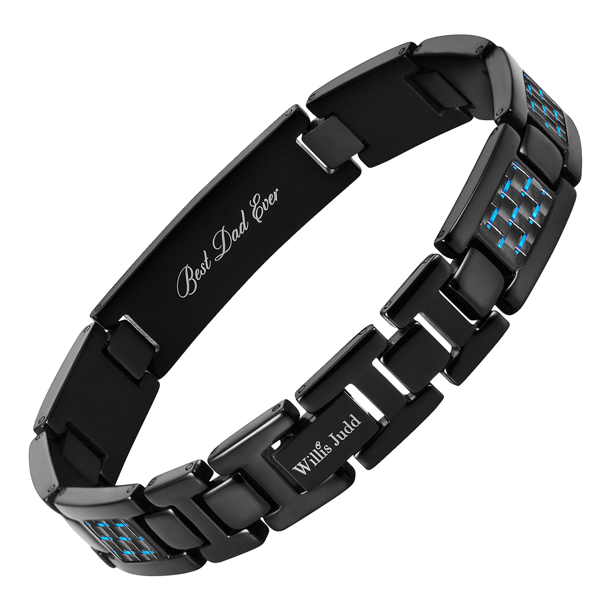 Men's DAD Titanium Bracelet engraved Best Dad Ever with Blue Carbon Fiber