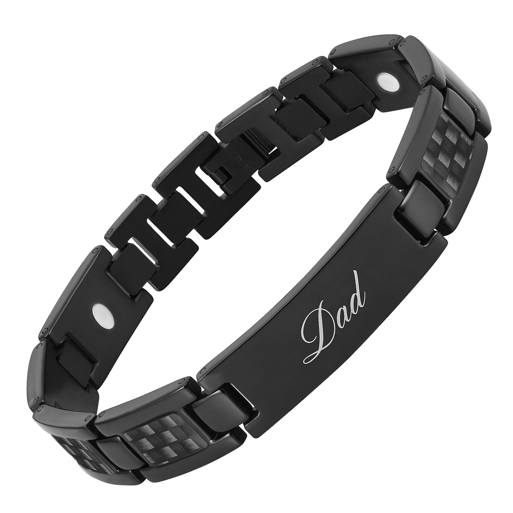 Men's DAD Titanium Magnetic Therapy Bracelet engraved Love You DAD with Black Carbon Fiber