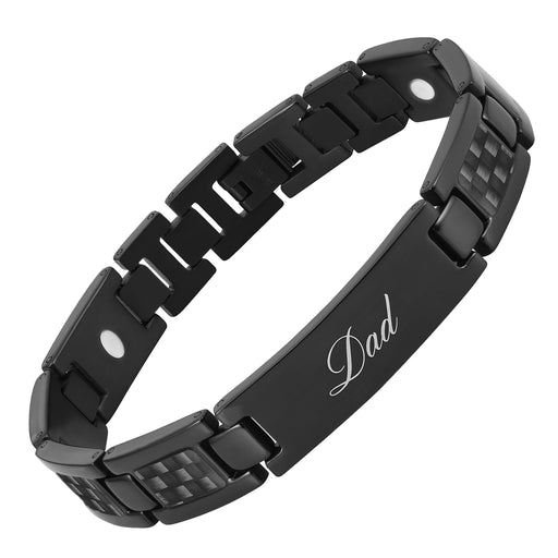 Men's DAD Titanium Bracelet engraved Best Dad Ever with Black Carbon Fiber