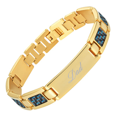 Men's DAD Titanium Bracelet engraved LOVE YOU DAD with Blue Carbon Fiber