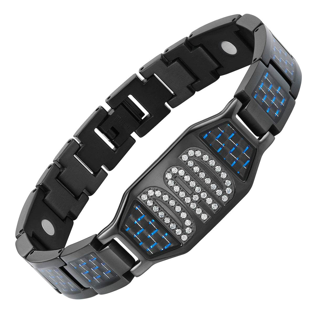 DAD CZ Titanium Bracelet with Blue Carbon Fiber Engraved LOVE YOU DAD