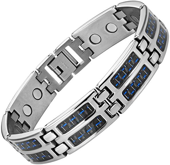 Mens Blue Carbon Fiber Titanium Magnetic Bracelet Double Strength Adjusting Tool and Gift Box Included By Willis Judd
