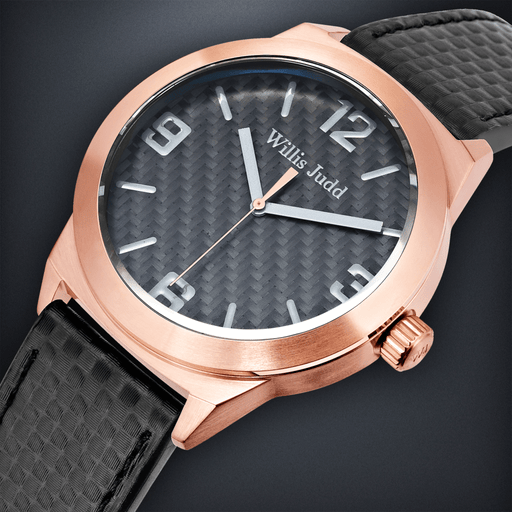 Rose Gold PVD with Black Carbon Fiber