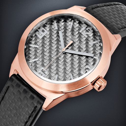Rose Gold PVD with Graphite Carbon Fiber