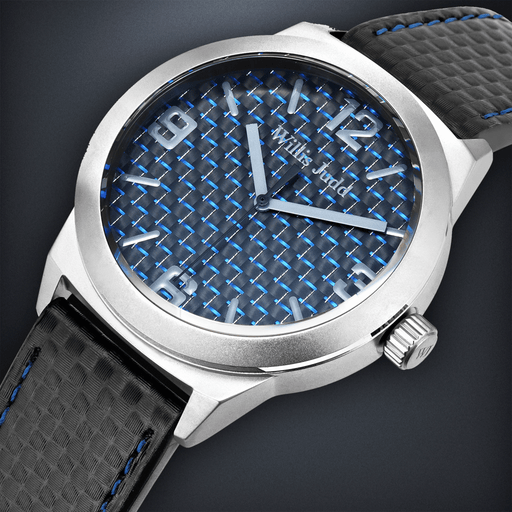 Brushed Stainless Steel with Blue Carbon Fiber