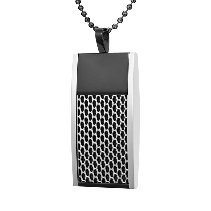 Willis Judd Mens Reversible Black Stainless Steel Blue Carbon Fiber and Honeycomb Pendant with Necklace and Gift Pouch
