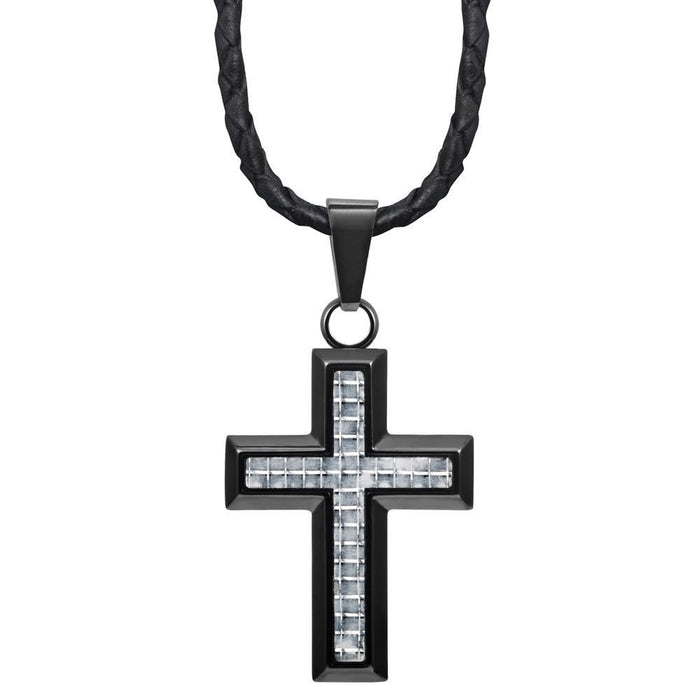 "Willis Judd New Mens Cross Pendant Engraved I Love You Carbon Fibre 22"" Leather Necklace - MP220"