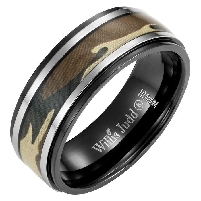 Mens 8mm Green Camouflage Black Titanium Ring with Velvet Ring Box