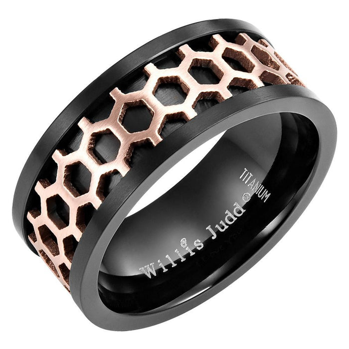 Willis Judd Mens Two Tone Black Titanium Band Ring Engraved I love You With Honeycomb Effect