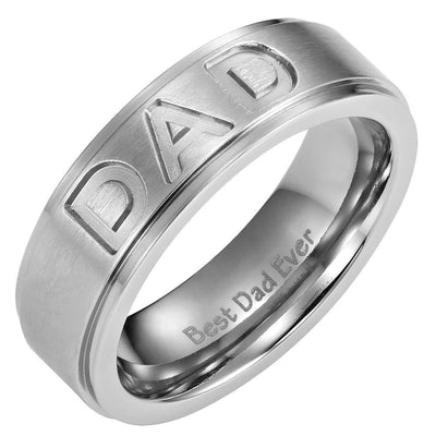 Mens Titanium DAD Ring Engraved Best Dad Ever with Velvet Ring Box