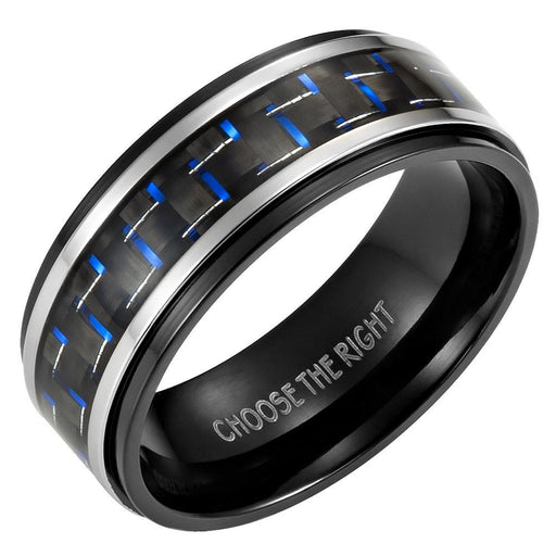 Mens 8mm Blue Carbon Fiber Titanium Ring Engraved Choose The Right in Velvet Ring Box