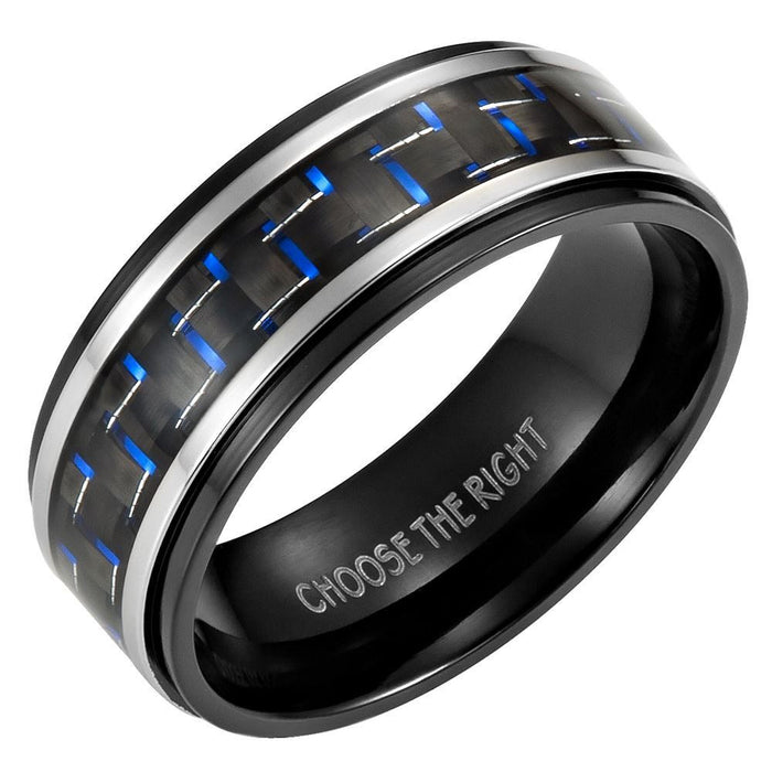 Mens 8mm Blue Carbon Fiber Titanium Ring Engraved Choose The Right