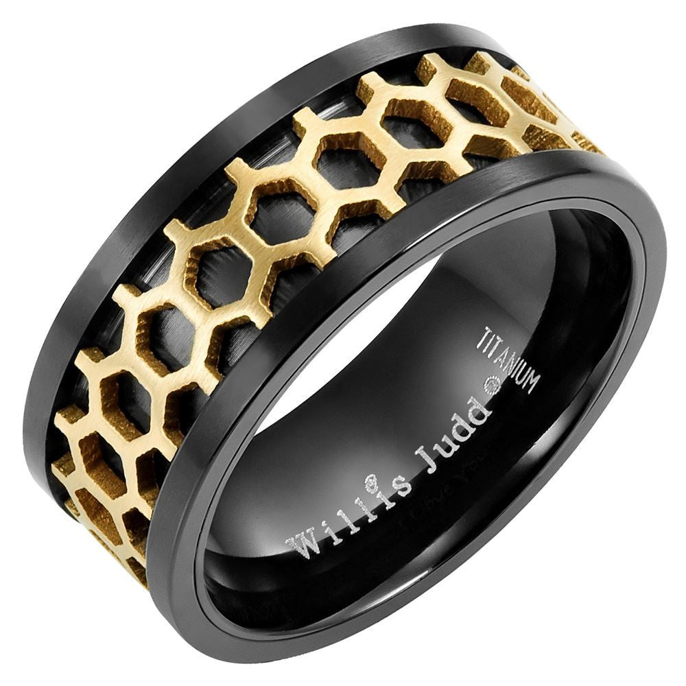 Willis Judd Mens Two Tone Black Titanium Band Ring Engraved I love You & Honeycomb Effect