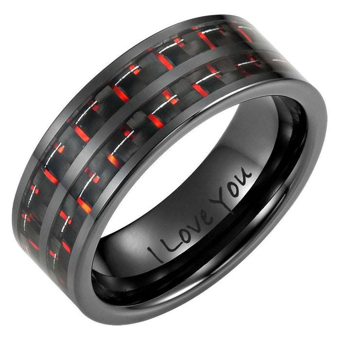 Mens 8mm Double Row Red Carbon Fiber Black Ceramic Ring