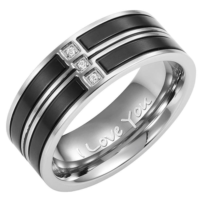 Mens Band Ring Crafted in Two Tone Black Titanium With White CZ Engraved I Love You