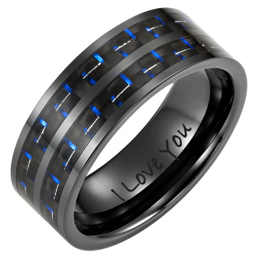 Mens 8mm Double Row Blue Carbon Fiber Black Ceramic Ring with Velvet Ring Box