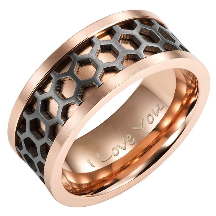 Mens Two Tone Titanium Band Ring Engraved I love You With Black Honeycomb Effect
