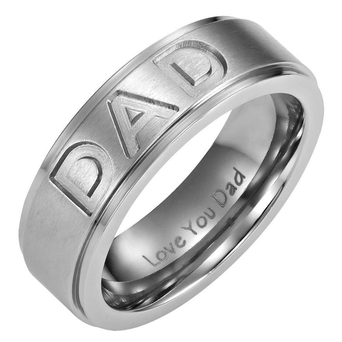 Mens 7mm Titanium DAD Ring Engraved Love You Dad