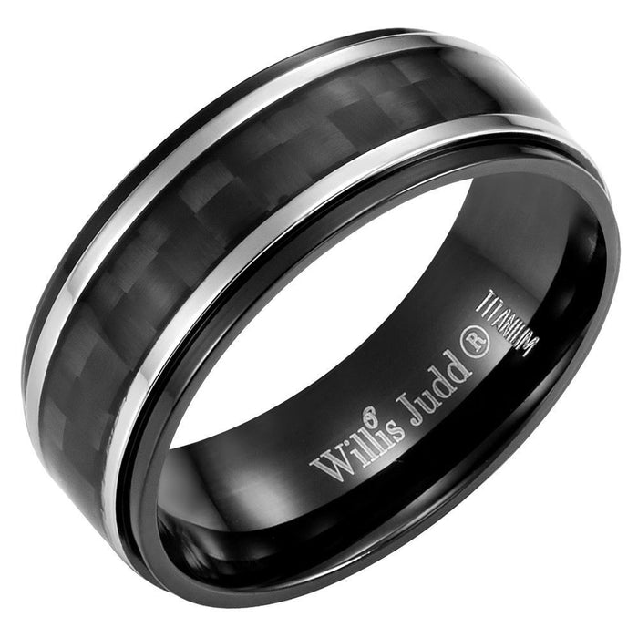 Mens 8mm Black Carbon Fiber Titanium Ring Engraved I Love You in Velvet Ring Box - USR0221