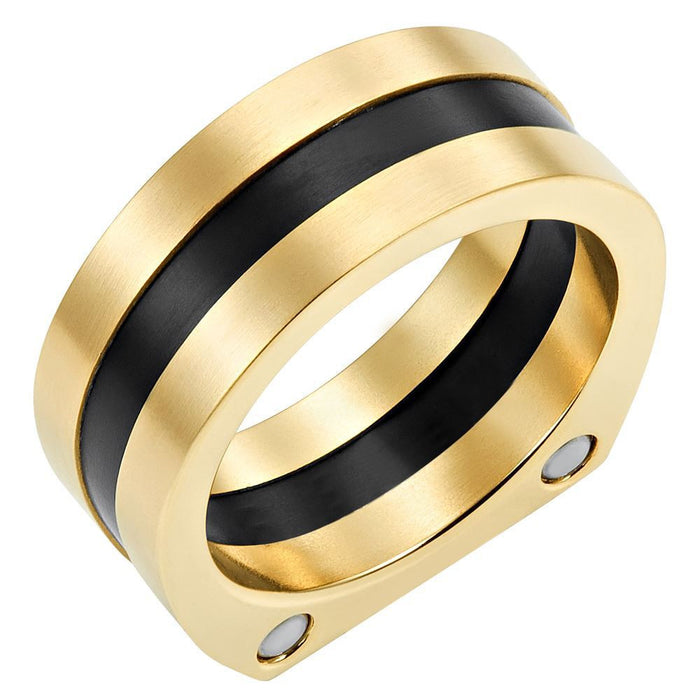 Willis Judd New Mens Band Ring Crafted in Two Tone Black Titanium With CZ Engraved I Love You