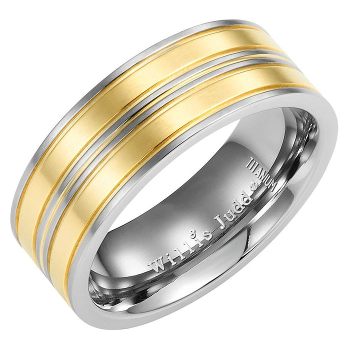 Willis Judd New Mens Band Ring Crafted in Two Tone Titanium With White CZ Engraved I Love You