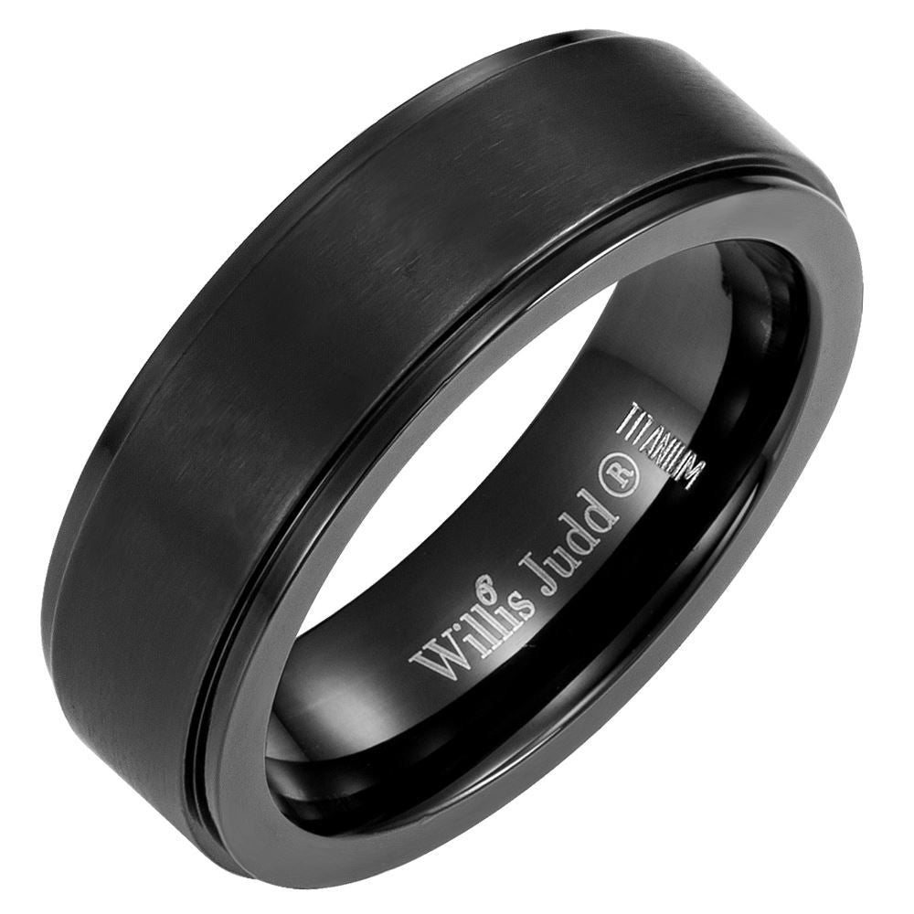 Mens Black Titanium DAD Ring Engraved Best Dad Ever with Velvet Ring Box