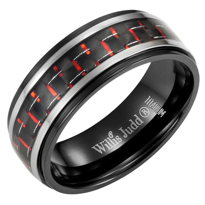 Mens 8mm Red Carbon Fiber Titanium Ring Engraved I Love You in Velvet Ring Box