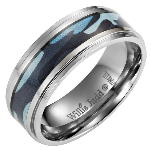 Mens 8mm Blue Camouflage Titanium Ring with Velvet Ring Box
