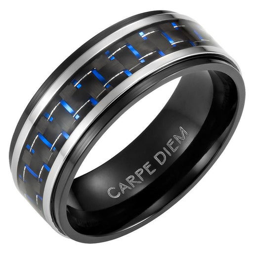 Mens 8mm Blue Carbon Fiber Titanium Ring Engraved Carpe Diem in Velvet Ring Box