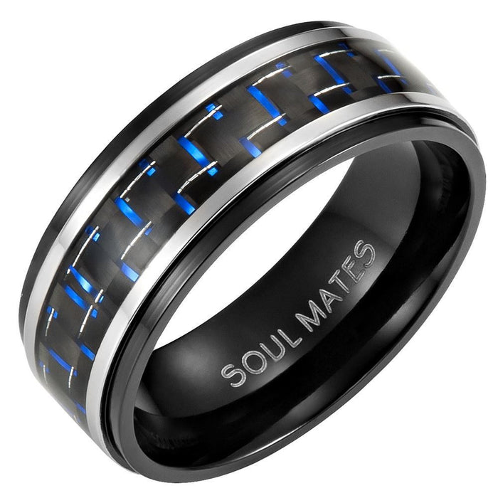 Mens 8mm Blue Carbon Fiber Titanium Ring Engraved Soul Mates in Velvet Ring Box