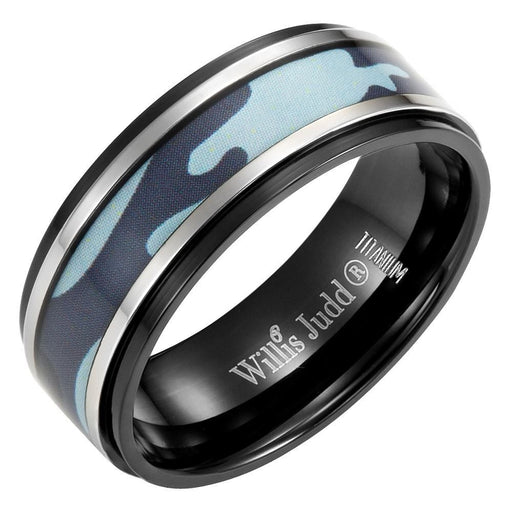 Mens 8mm Blue Camouflage Black Titanium Ring with Velvet Ring Box