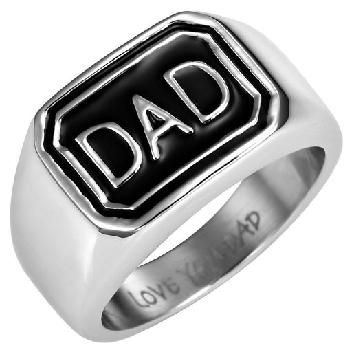 Mens 7mm Black Titanium DAD Ring Engraved Love You Dad