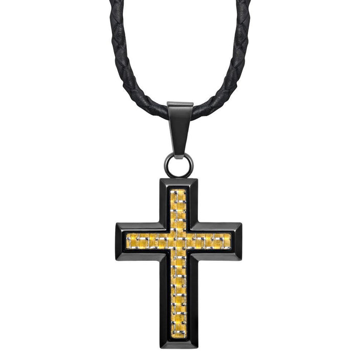 "Willis Judd New Mens Cross Pendant Engraved Soul Mates Carbon Fibre 22"" Leather Necklace - MP232"