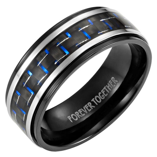 Mens 8mm Blue Carbon Fiber Titanium Ring Engraved Forever Together in Velvet Ring Box