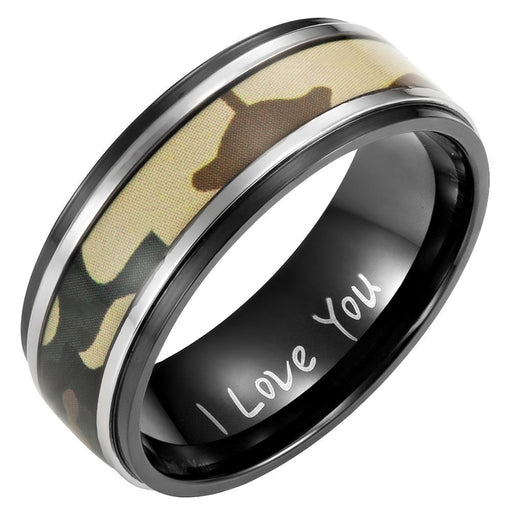 Mens 8mm Green Camouflage Black Titanium Ring Engraved I Love You with Velvet Ring Box