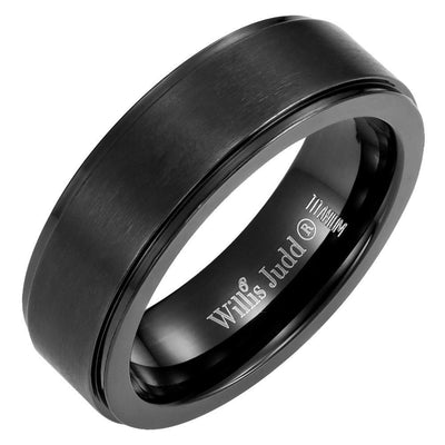 New Willis Judd Mens Black Titanium DAD Ring Engraved Love You Dad In Velvet Ring Box